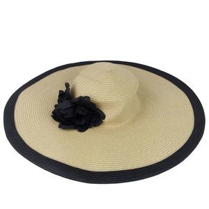 NWT Nine West Woven Straw Black Flower Floppy Hat
